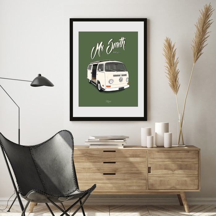 Volkswagen Transporter Mr Smith Illustratie Tekening Vaderdag
