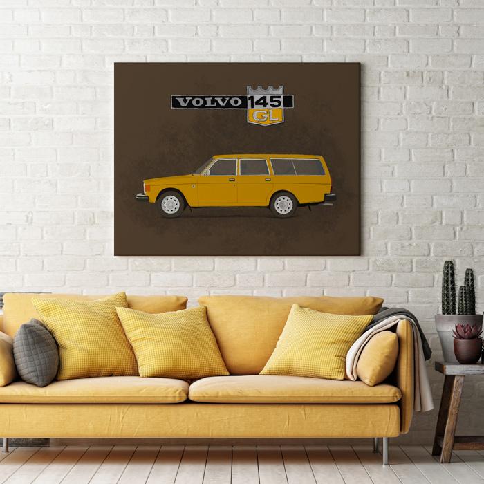Volvo 145 illustratie muur tekening schilderij
